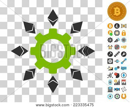 Ethereum Configuration Gear icon with bonus bitcoin mining and blockchain pictograms. Vector illustration style is flat iconic symbols. Designed for blockchain websites.