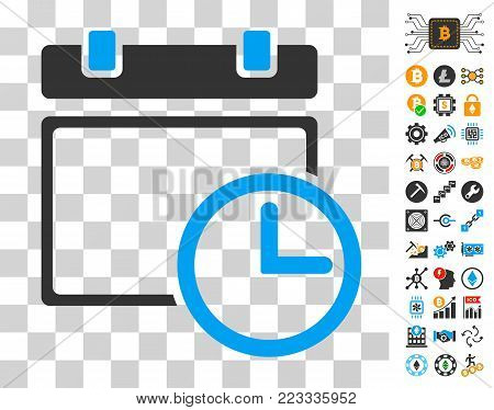 Date And Time pictograph with bonus bitcoin mining and blockchain pictographs. Vector illustration style is flat iconic symbols. Designed for blockchain apps.