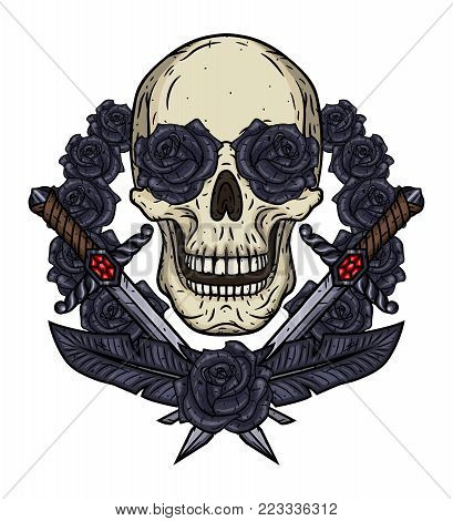 Skull with a daggers and a dark grey roses. Valentine skull