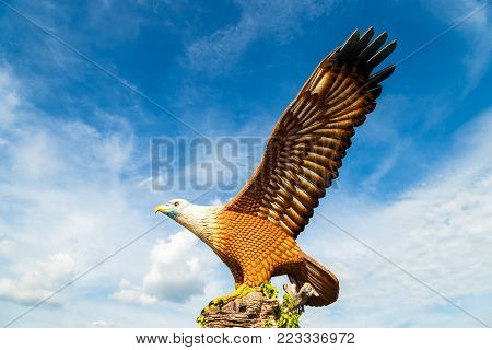 February 2017 - Langkawi, Malaysia - Eagle Square in Langkawi, near the Kuah port, in late afternoon light. This giant Eagle statue is the symbol of Langkawi island, Malaysia