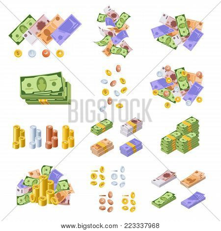 Various kind of money and monetary currencies, in form of cash, paper bills, gold and silver coins. Piles of money. Packed dollars and euros. Flying banknotes and coins. Vector illustration.