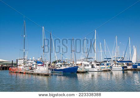 Moss Landing, California - September 9, 2015 - Boats Docked In The Moss Landing Harbor. Moss Landing