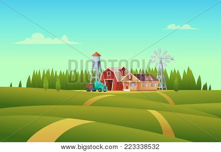 Rural summer landscape with a red shed farm, house, truck, water tower and windmill.