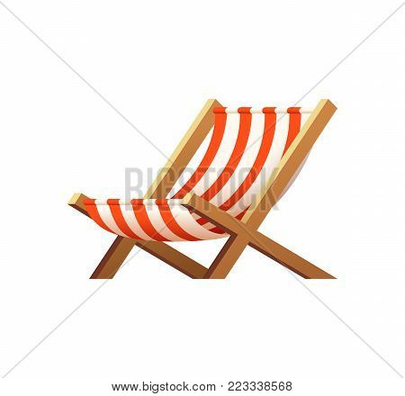 Cartoon wooden beach chaise lounge. Beach chair vector illustration