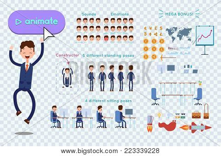 Character constructor for animating. Businessman in blue suit jumps for joy on transparent background. Animation of speech, emotions, turns, standing, sitting. Objects for animation