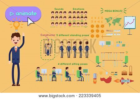 Character constructor for animating. Businessman in blue suit The idea came, the light on yellow background. Animation of speech, emotions, turns, standing, sitting. Objects for animation
