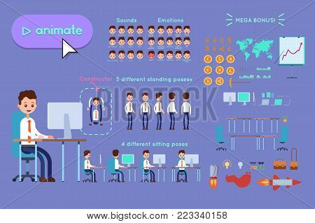 Character constructor for animating. Businessman in blue shirt sitting at desk by computer on violet background. Animation of speech, emotions, turns, standing, sitting. Objects for animation