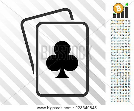 Clubs Gambling Cards icon with 700 bonus bitcoin mining and blockchain pictograms. Vector illustration style is flat iconic symbols designed for crypto-currency websites.