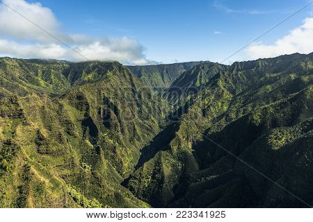 Landscape photos taken from a helicopter ride over Kauai Hawaii.