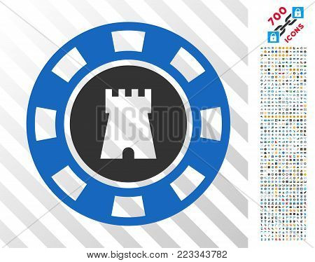 Bulwark Casino Chip icon with 7 hundred bonus bitcoin mining and blockchain design elements. Vector illustration style is flat iconic symbols designed for bitcoin software.