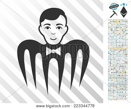 Croupier Spectre Monster pictograph with 7 hundred bonus bitcoin mining and blockchain design elements. Vector illustration style is flat iconic symbols designed for crypto currency websites.