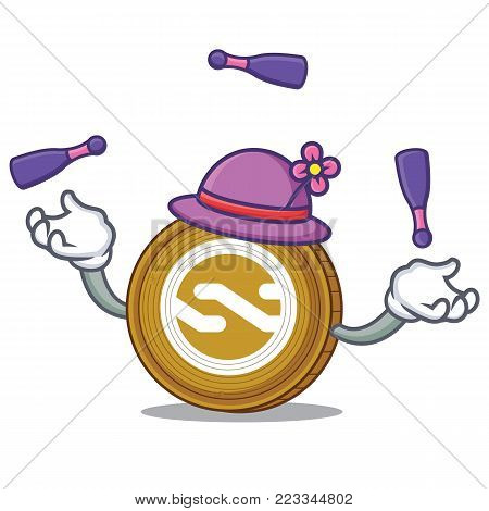 Juggling Nxt coin mascot cartoon vector illustration