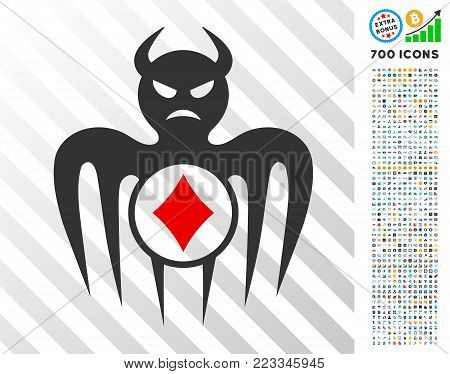 Gambling Spectre Devil icon with 7 hundred bonus bitcoin mining and blockchain design elements. Vector illustration style is flat iconic symbols designed for crypto-currency software.