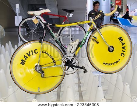 Bangkok, Thailand - November 23, 2012: Vintage bicycle BASSO with MAVIC disc wheels display at A Day Bike Fest 2012, Bangkok