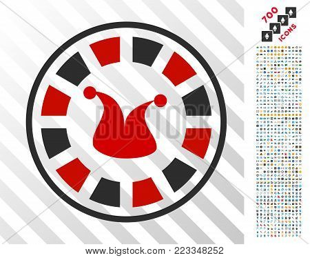 Joker Roulette icon with 700 bonus bitcoin mining and blockchain pictograms. Vector illustration style is flat iconic symbols designed for bitcoin apps. poster