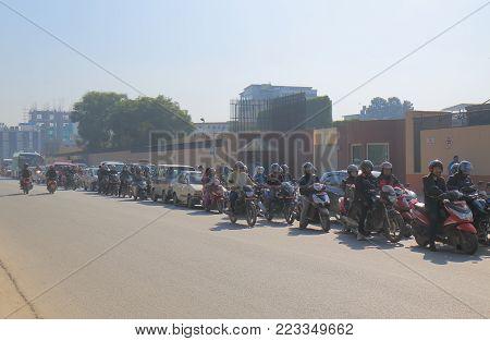 Kathmandu Nepal - November 10, 2017: Unidentified People Commute In Downtown Kathmandu Nepal.
