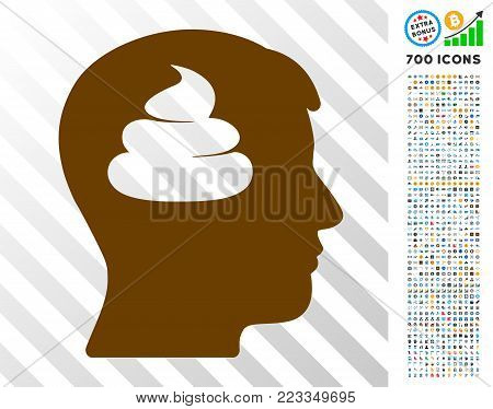 Shit Brains Head icon with 700 bonus bitcoin mining and blockchain icons. Vector illustration style is flat iconic symbols designed for bitcoin websites.