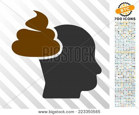 Shit Thinking Head pictograph with 7 hundred bonus bitcoin mining and blockchain graphic icons. Vector illustration style is flat iconic symbols designed for bitcoin apps.