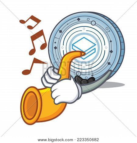 With trumpet Stratic coin mascot cartoon vector illustration