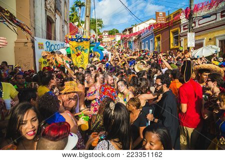Olinda, Pernambuco, Brazil - February 7, 2016: Street Carnival / Brazilians celebrate the Carnival 2016 in Olinda, Pernambuco, Brazil
