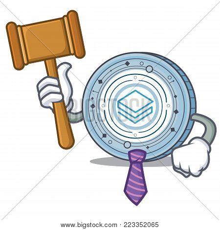 Judge Stratic coin mascot cartoon vector illustration