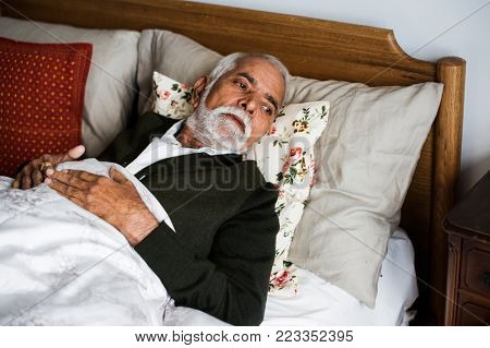 An elderly Indian man at the retirement house