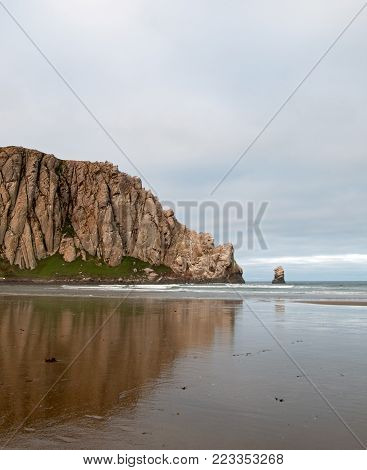 Sunrise at Morro Rock at Morro Bay State Park popular vacation / camping spot on the Central California Coast USA