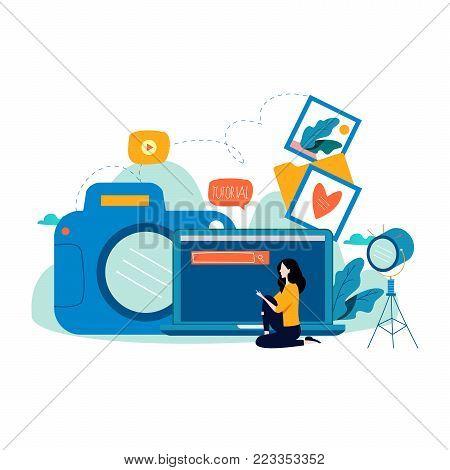 Photography classes, photography courses, tutorials, education concept, workshops flat vector illustration