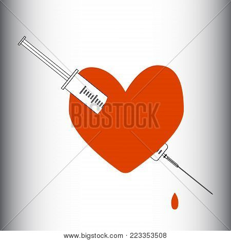 Heart pierced with a syringe. Obsession, love, passion, dependence Vector illustration