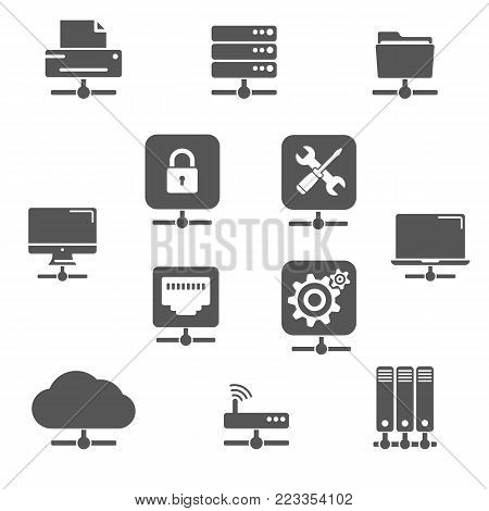 Network devices line icons set. Remote devices, ethernet servers and cloud storage. Connected world
