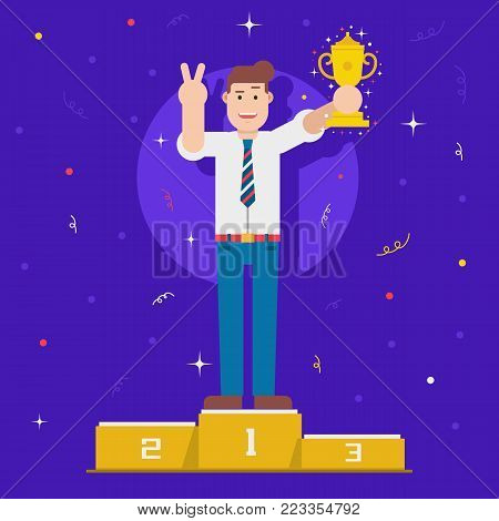 Leading manager or businessman with prize cup on pedestal of honor. Happy office man holding trophy. Achievement, award and first place concept. Top worker award or successful career illustration.