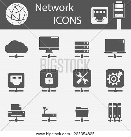 Network devices line icons. Remote printing, server, laptop, cloud, remote screen, support service, ethernet and more