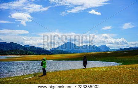 Central Highlands, Vietnam - Oct 10, 2015. People Visit The Lake In Central Highlands, Vietnam. The