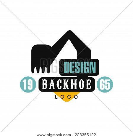 Backhoe logo design, estd 1965, excavator equipment service label vector Illustration on a white background