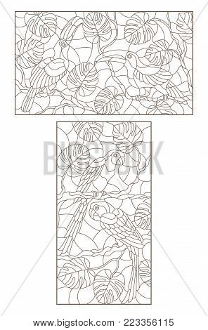 Set contour illustrations of the stained glass birds pair of parrots and a pair of toucans on a tree branch