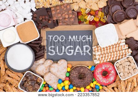 Food containing too much sugar. Sugar in diet causes obesity, diabetes and other health problems