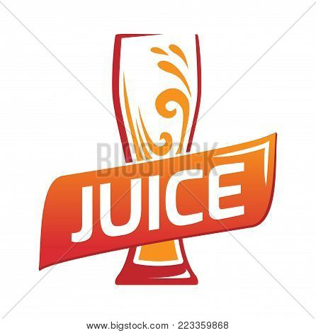 One glasses with orange juice. Orange juice with text - juice. Logo for fresh juices. Symbol color glass flat style.