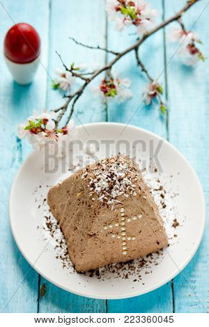Chocolate coconut curd paskha, traditional russian orthodox easter quark cheese dessert
