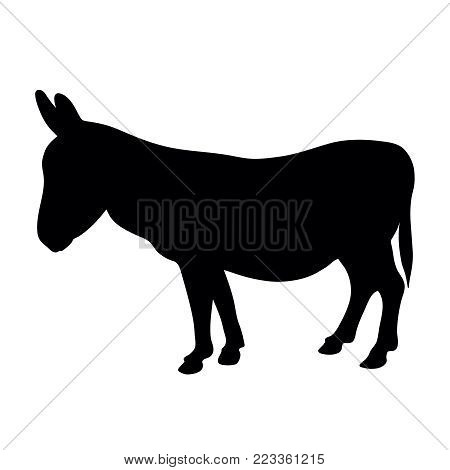 black silhouette of donkey standing on white background of vector illustration