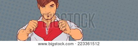 Sad Man Tearing Red Heart Apart On Retro Pop Art Background With Copy Space Relationship Divorce And Betrayal Concept Horizontal Banner Vector Illustration