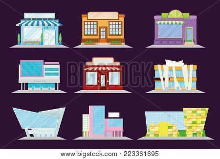 Shop and restaurant facade set, shopping mall and market building architecture, showcase window vector Illustration on a black background