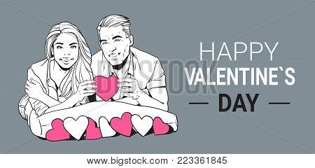 Happy Valentines Day Poster Smiling Couple Hold Pink Heart Sketch Man And Woman In Love Vector Illustration