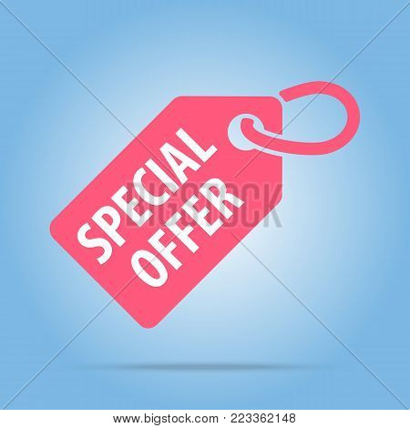 Special offer tag. Vector illustration. Red color