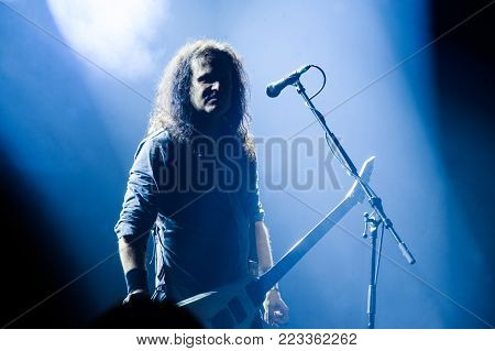 BELGRADE, SERBIA - JANUARY 19: MILLE PETROZZA FROM GERMAN THRASH METAL BAND KREATOR PERFORMING AT BELGRADE METAL MEETING FESTIVAL ON JANUARY 19TH, 2018 IN BELGRADE, SERBIA.