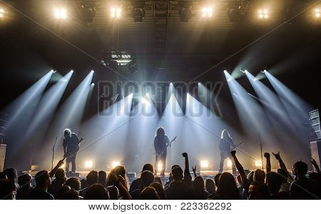 BELGRADE, SERBIA - JANUARY 19: GERMAN THRASH METAL BAND KREATOR PERFORMING AT BELGRADE METAL MEETING FESTIVAL ON JANUARY 19TH, 2018 IN BELGRADE, SERBIA.