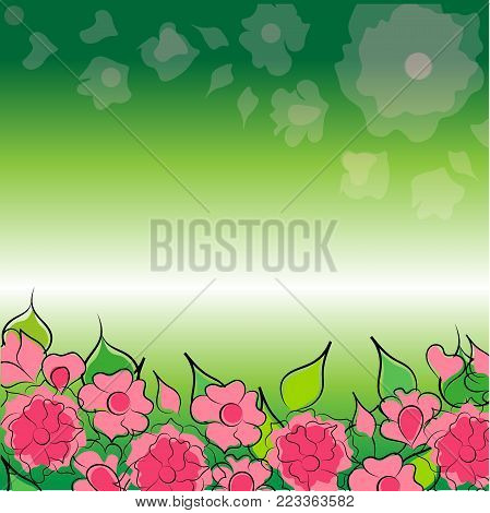 Multicolored floral background, vector bouquet and botany poster