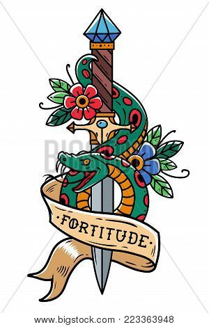 Vector Tattoo Dagger with green snake, flower, ribbon and lettering Fortitude. Snake wraps around old dagger. Old school style. Engraving style