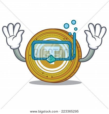 Diving Tether coin character cartoon vector illustration