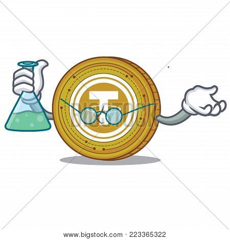 Professor Tether coin character cartoon vector illustration