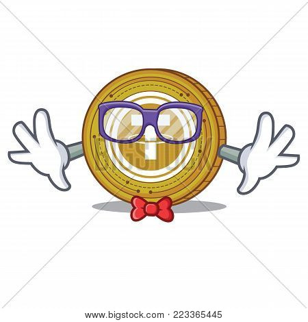 Geek Tether coin character cartoon vector illustration